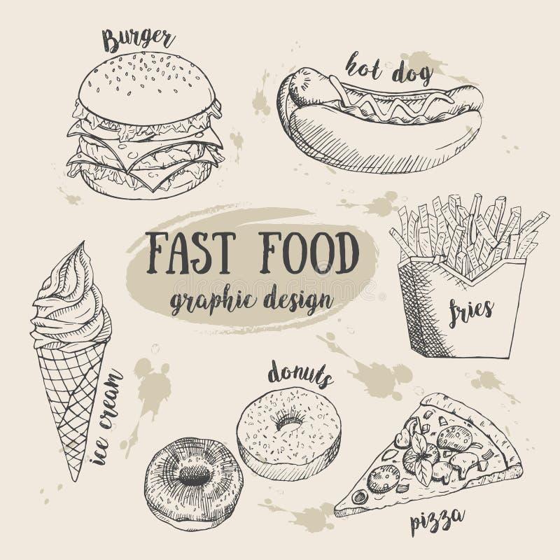 Grupo tirado mão do fastfood Ilustração creativa do vetor ilustração do vetor