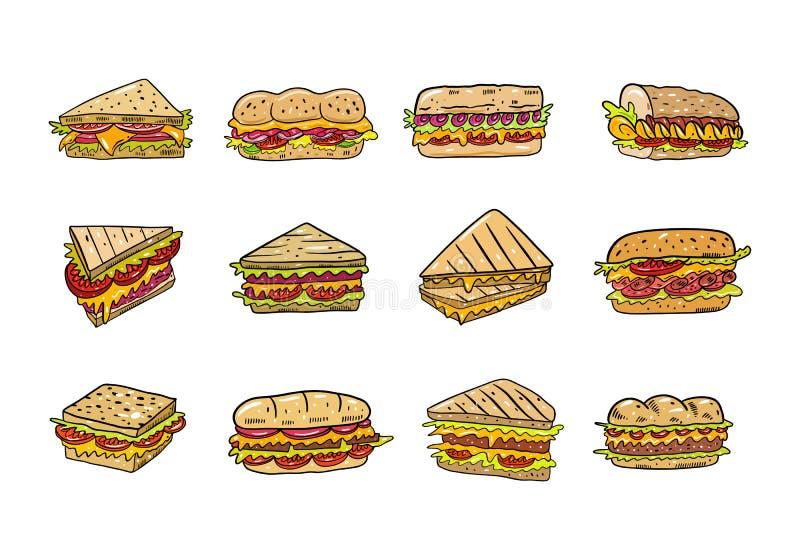 Grupo tirado mão do illustrtion do vetor do sanduíche Estilo dos desenhos animados Isolado no fundo branco fotos de stock royalty free