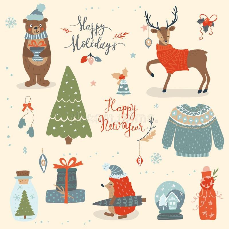 Grupo tirado mão do Natal - inscrição, animais e o outro eleme ilustração stock