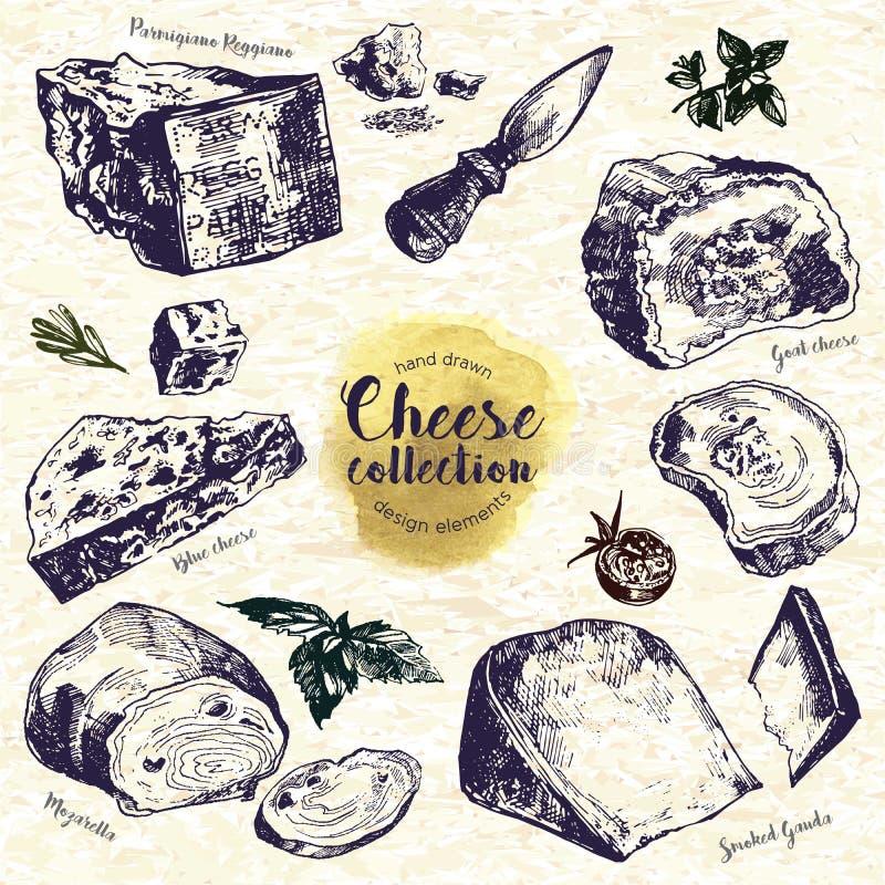 Grupo tirado mão do queijo ilustração do vetor