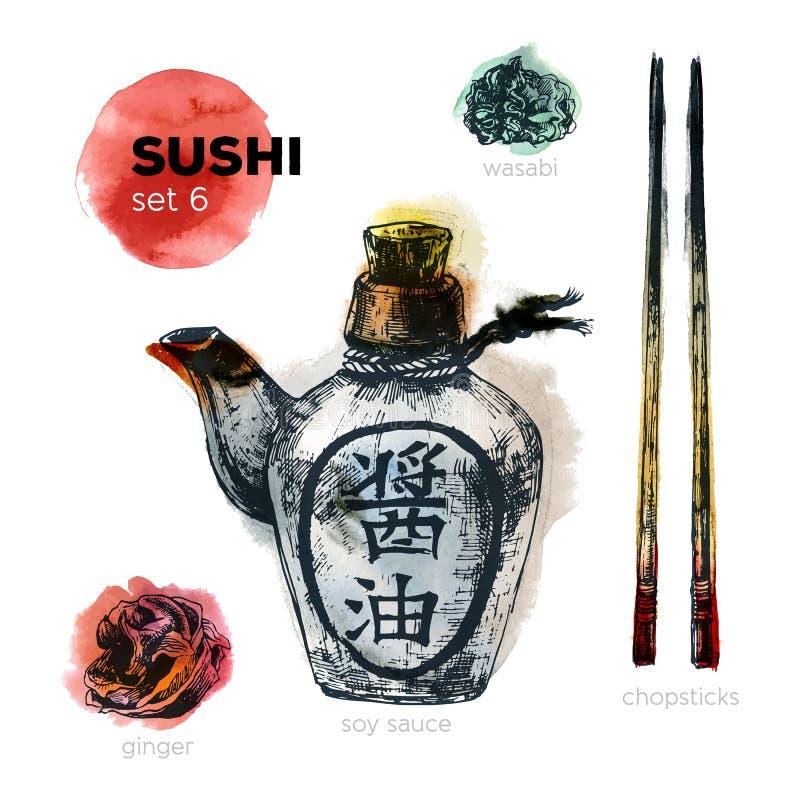 Grupo tirado mão do sushi ilustração royalty free