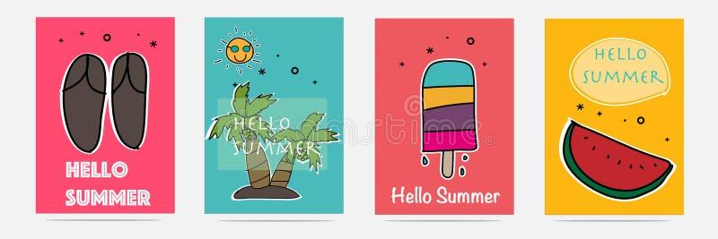 Grupo tirado mão do verão ilustração stock
