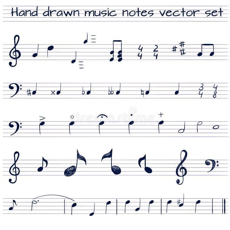 Grupo tirado mão do VETOR de notas da música ilustração stock