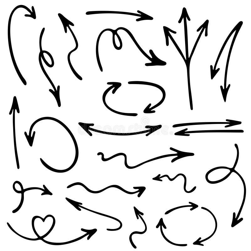 Grupo tirado mão do vetor dos ícones da seta Para cima e para baixo setas do esboço da pena ilustração royalty free