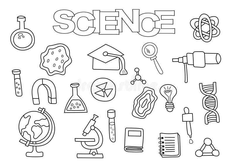 Grupo tirado mão dos elementos da ciência Molde do livro para colorir Garatuja do esboço ilustração royalty free