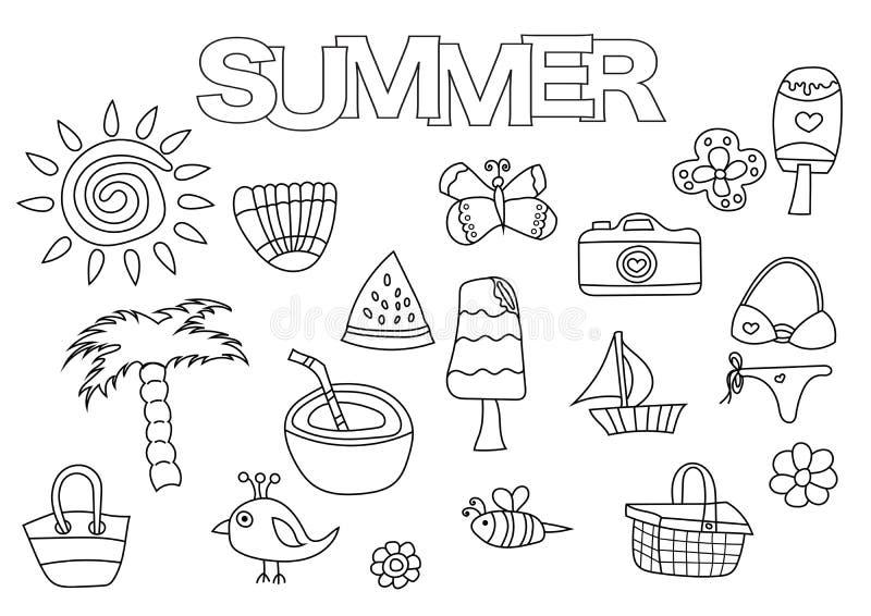 Grupo tirado mão dos elementos do verão Molde do livro para colorir Garatuja do esboço ilustração stock