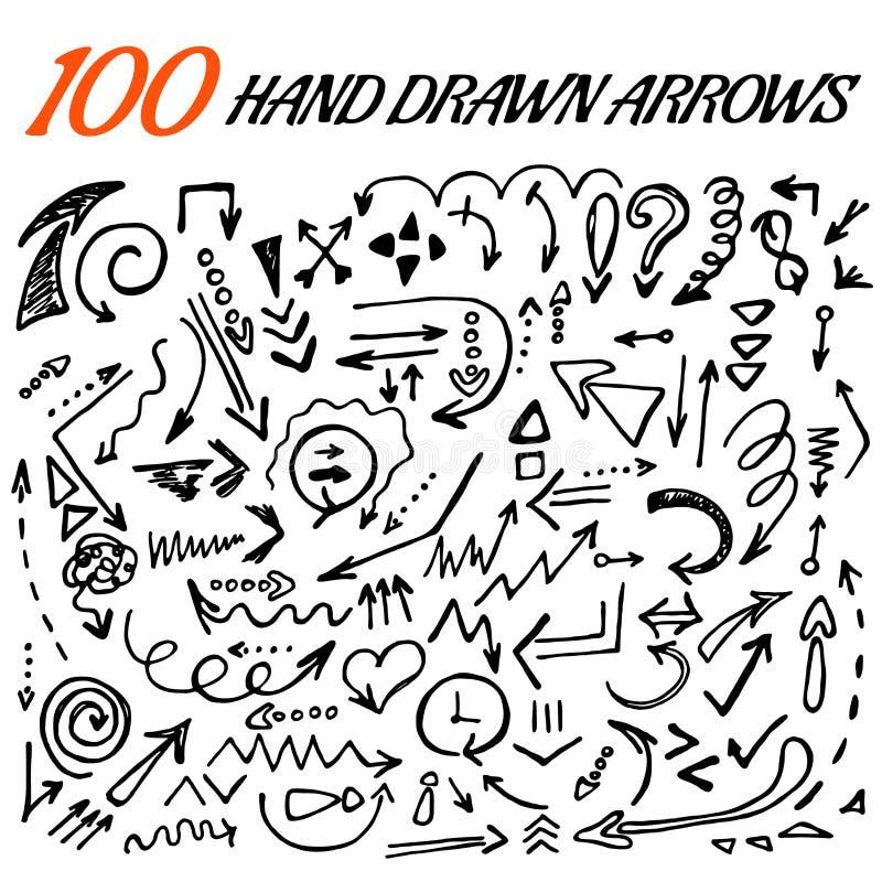 grupo tirado 100 mãos da seta feito no vetor ilustração do vetor