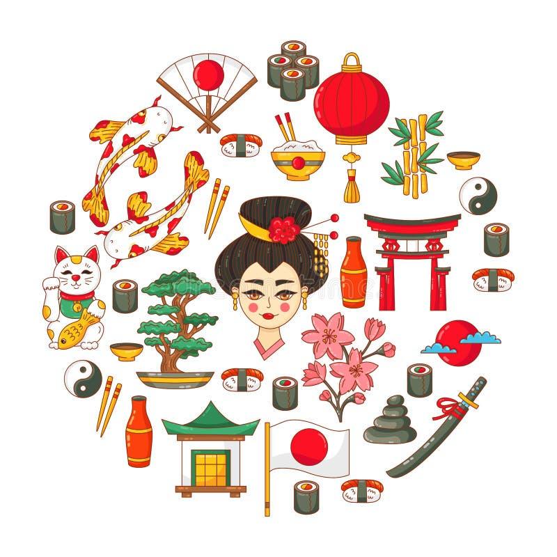 Grupo tradicional japonês do symbolsvector ilustração stock