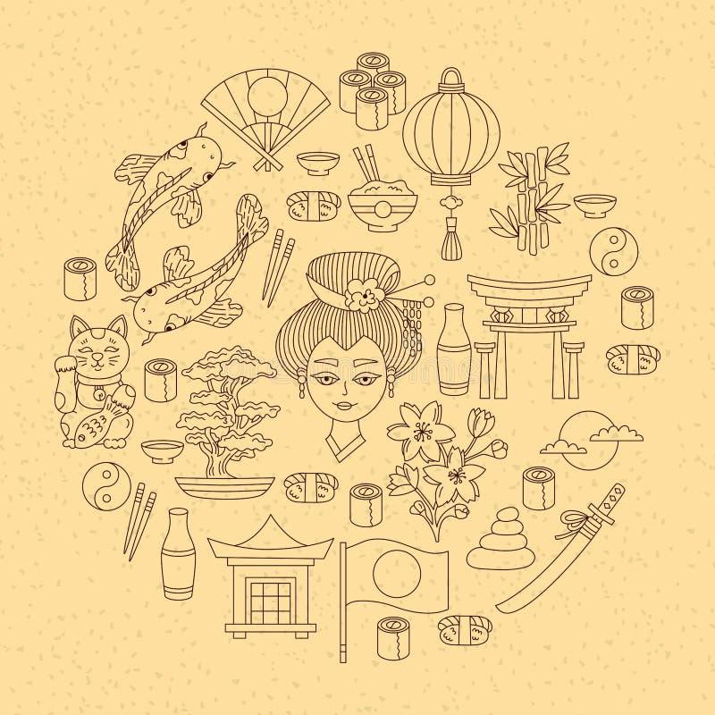 Grupo tradicional japonês dos ícones do vetor dos símbolos ilustração do vetor