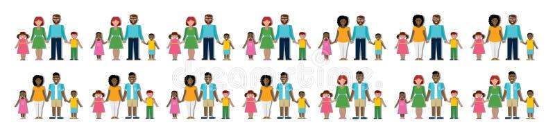 Grupo tradicional multicultural da família ilustração royalty free