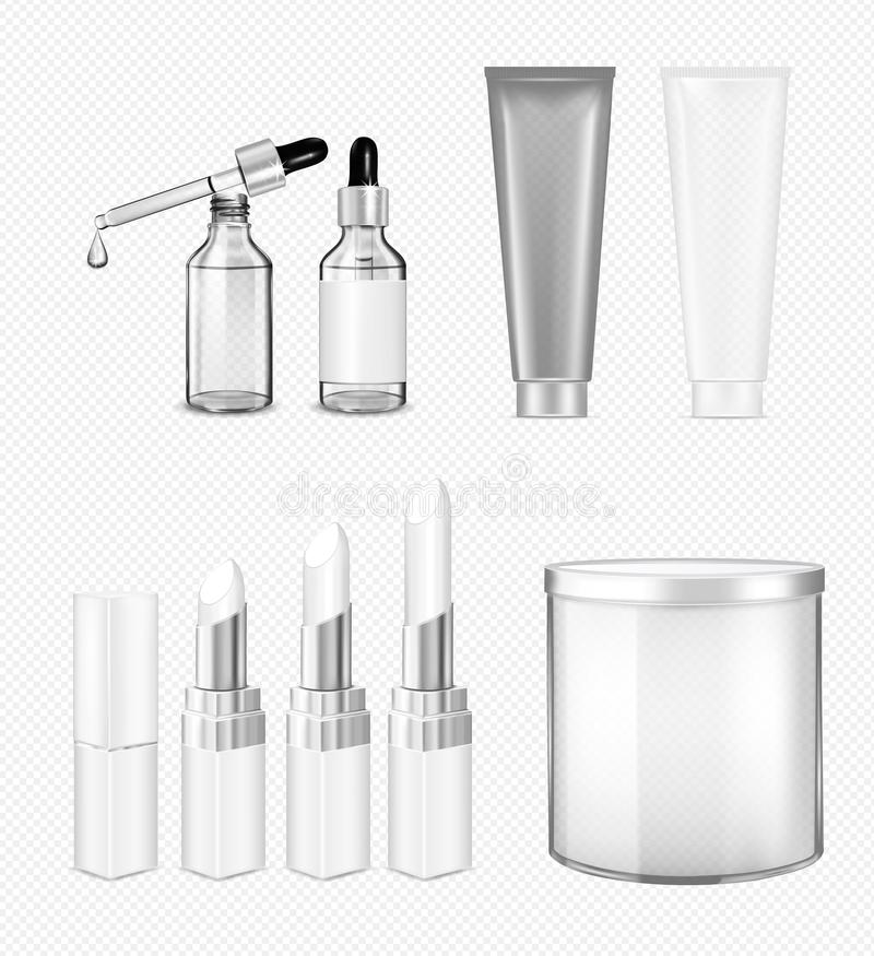Grupo transparente cosmético Garrafa de vidro com conta-gotas, batom; j ilustração royalty free