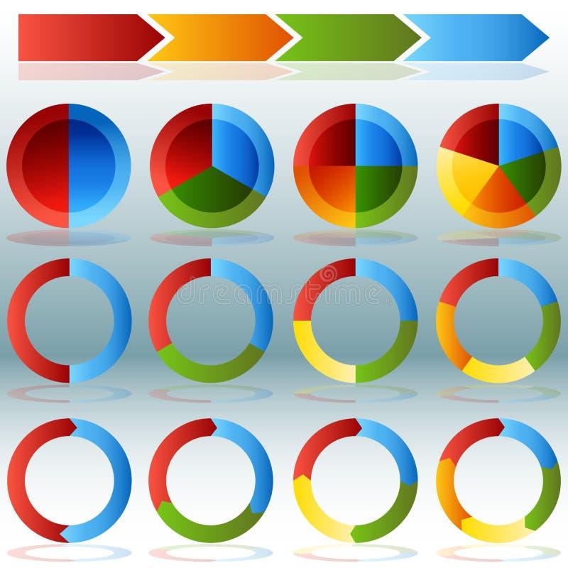 Grupo transparente da sombra da gota de Infographic da roda da carta de torta ilustração royalty free