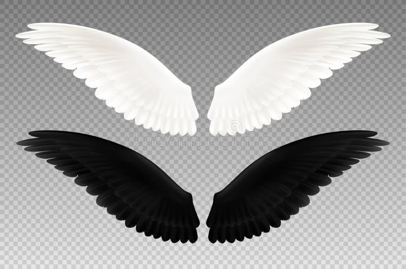 Grupo transparente das asas preto e branco ilustração royalty free