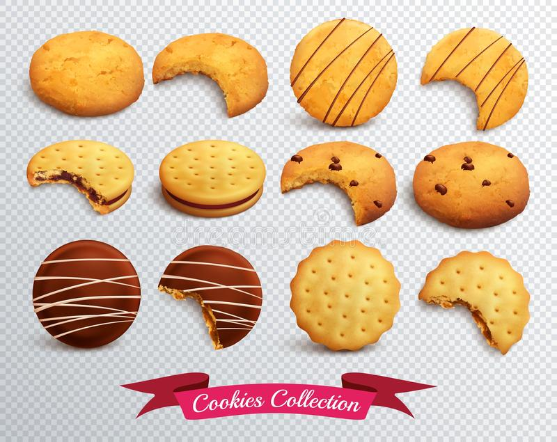 Grupo transparente das cookies ilustração do vetor