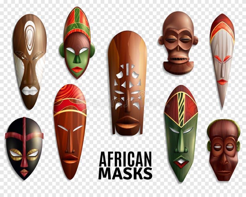 Grupo transparente do ícone das máscaras do africano ilustração stock