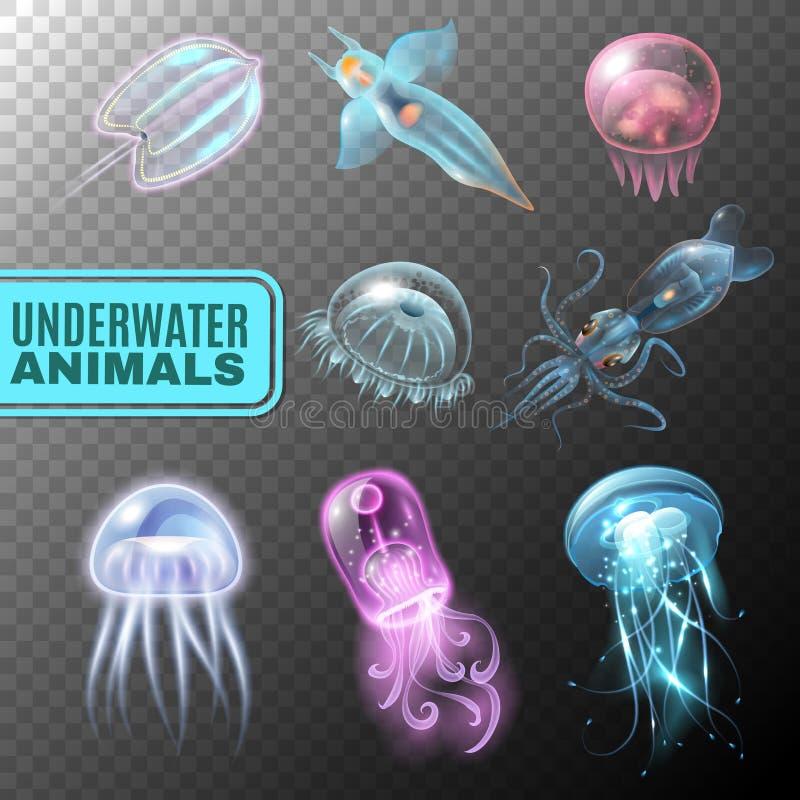 Grupo transparente subaquático do ícone ilustração stock