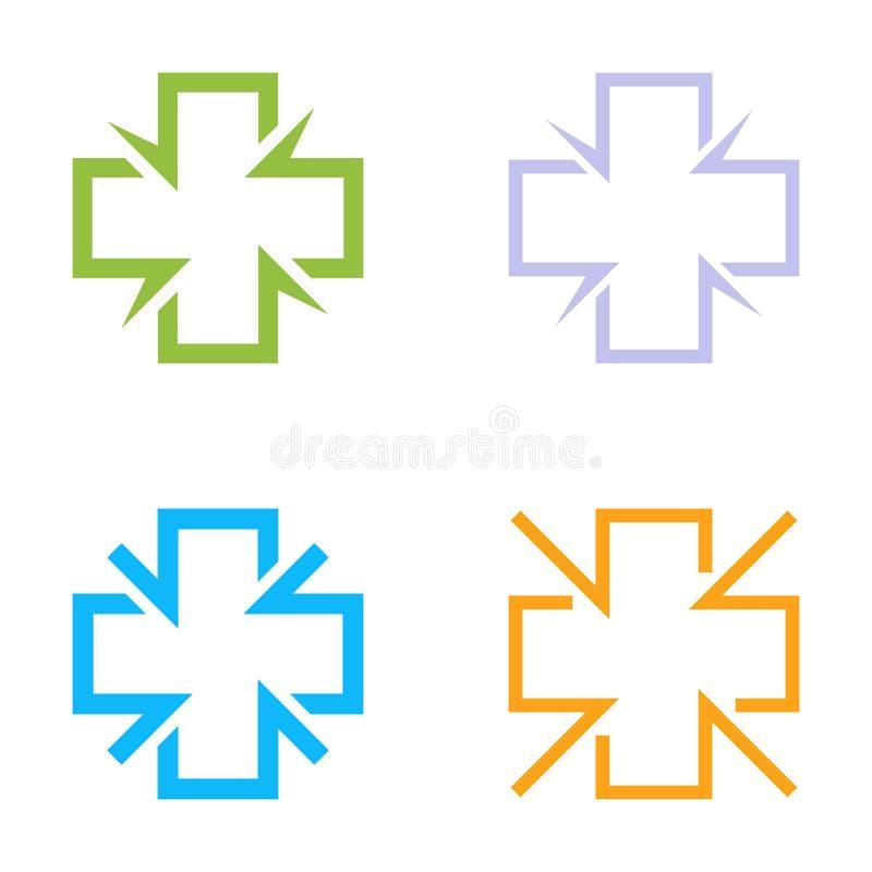 Grupo transversal colorido isolado do logotipo do vetor Coleção médica dos logotypes do contorno dos sinais Grupo dos símbolos do ilustração stock