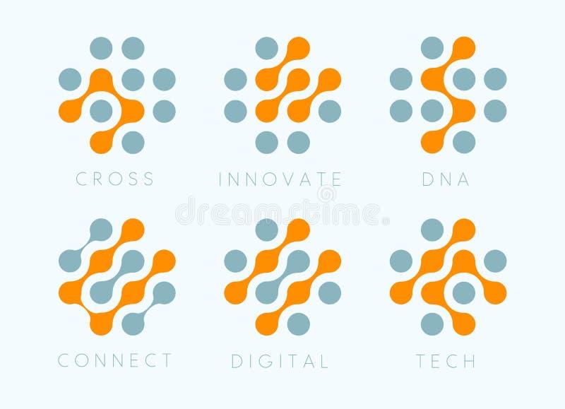 Grupo transversal do emblema do vetor dos pontos Inovam os ícones modernos da bio tecnologia Coleção isolada labosatory do logoti ilustração royalty free