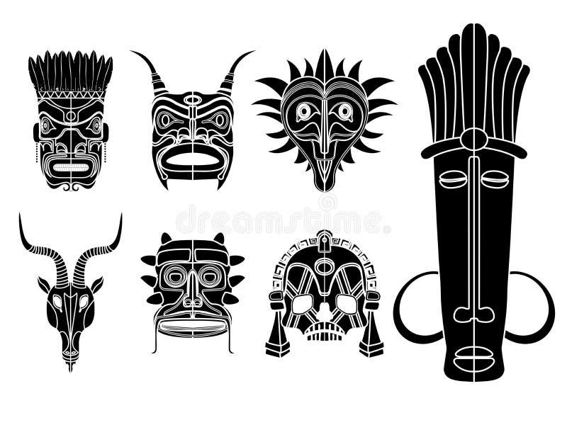 Grupo tribal da máscara ilustração stock