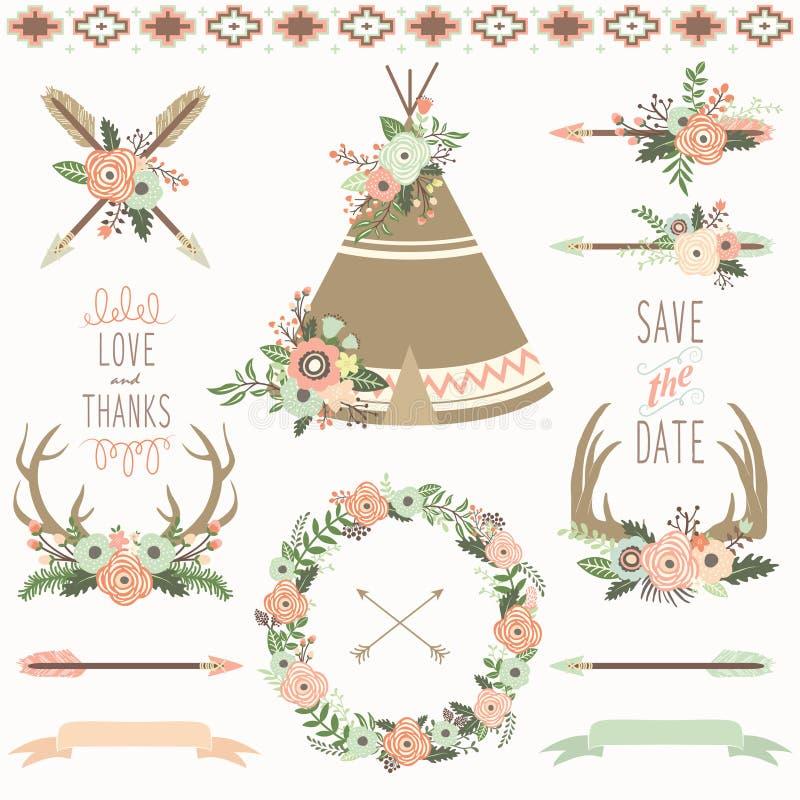 Grupo tribal da tenda floral do casamento ilustração royalty free