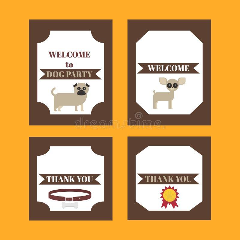 Grupo tribal imprimível de elementos do partido do cão do vintage Moldes, etiquetas, ícones e envoltórios ilustração royalty free