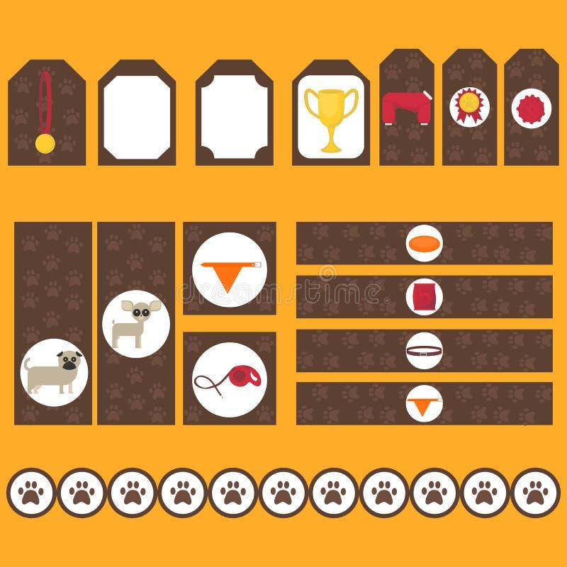 Grupo tribal imprimível de elementos do partido do cão do vintage Moldes, etiquetas, ícones e envoltórios ilustração stock