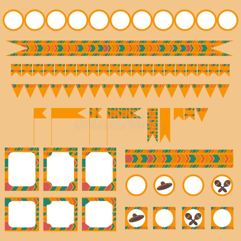 Grupo tribal imprimível de festa mexicana, elementos do partido do de Mayo do cinco ilustração stock