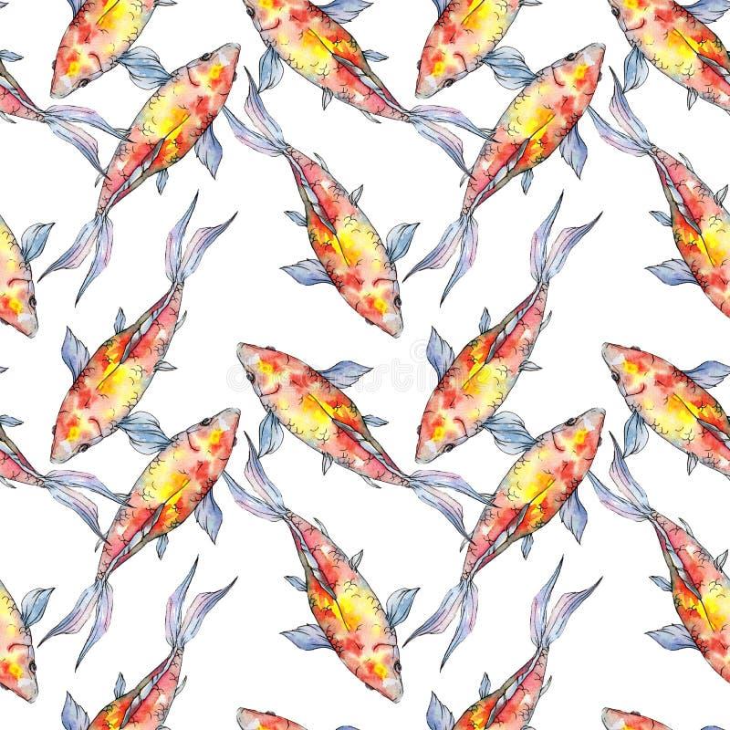 Grupo tropical colorido subaquático aquático do peixe dourado Grupo da ilustra??o do fundo da aquarela Teste padr?o sem emenda do ilustração royalty free
