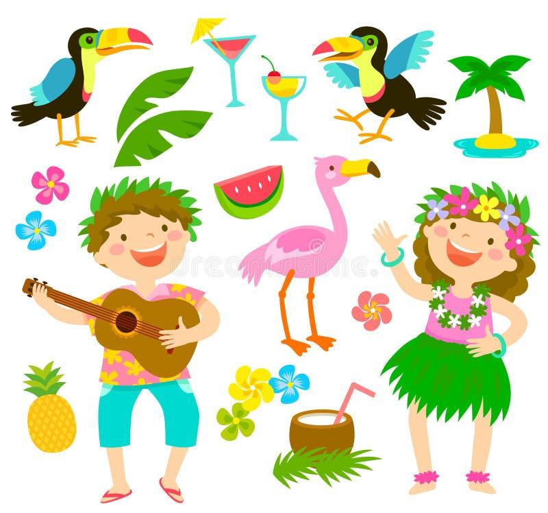 Grupo tropical dos desenhos animados ilustração do vetor