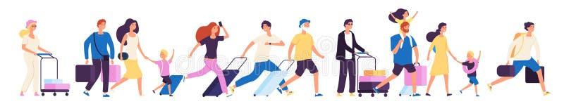 Grupo tur?stico Los turistas felices con las maletas que caminaban juntos en el aeropuerto, vector del viaje del viajero de la fa libre illustration