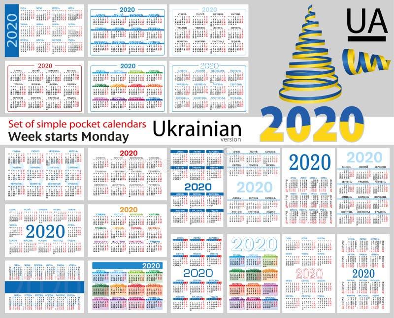 Grupo ucraniano de calendários do bolso para 2020 ilustração stock