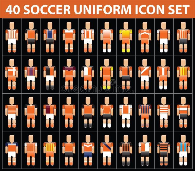 grupo uniforme alaranjado do ícone do futebol do futebol 40 ilustração stock