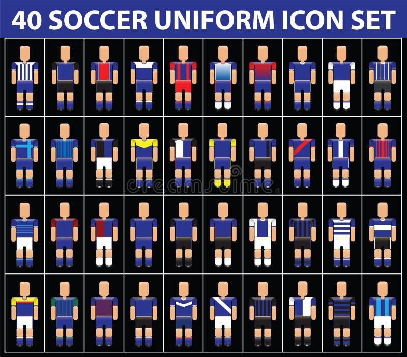 grupo uniforme azul do ícone do futebol do futebol 40 ilustração do vetor