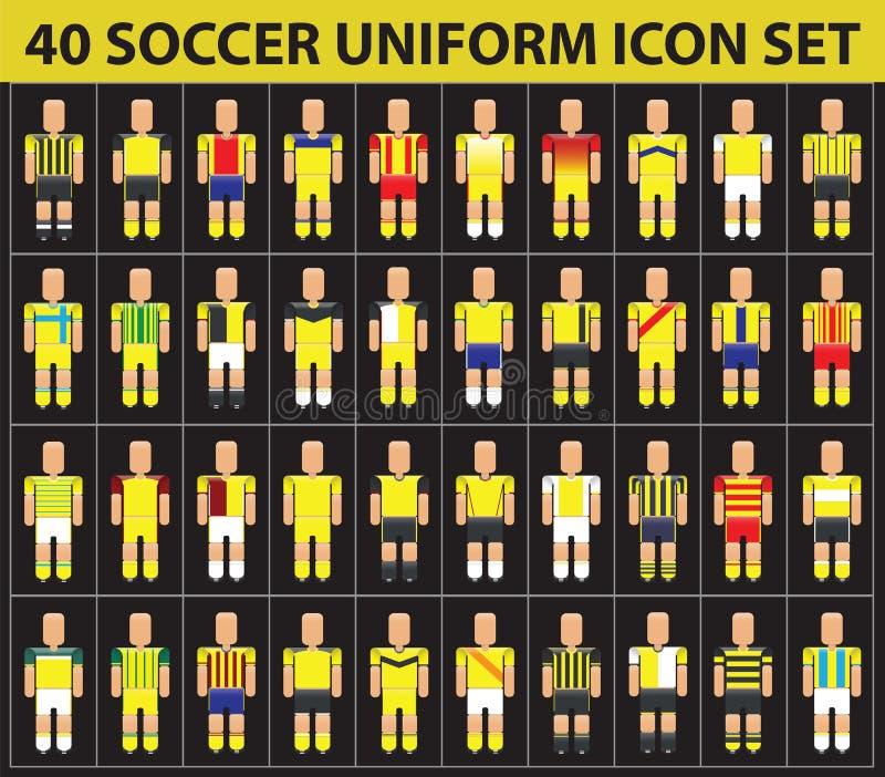 grupo uniforme do ícone do amarelo do futebol do futebol 40 ilustração royalty free