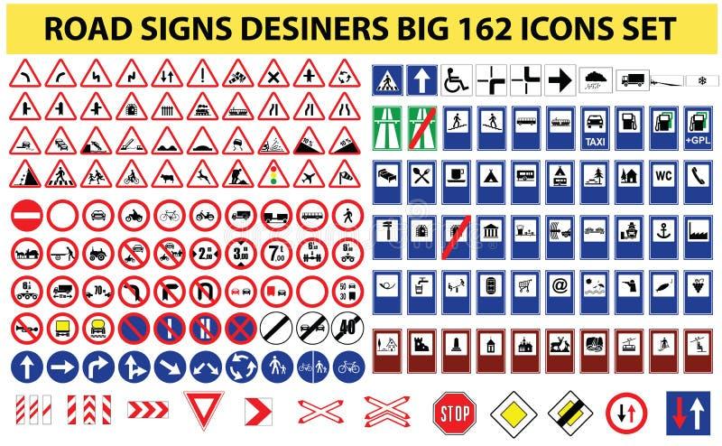 Grupo universal de 162 sinais de estrada ilustração do vetor