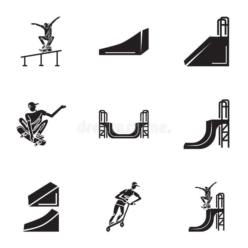Grupo urbano do ícone do parque do patim, estilo simples ilustração royalty free