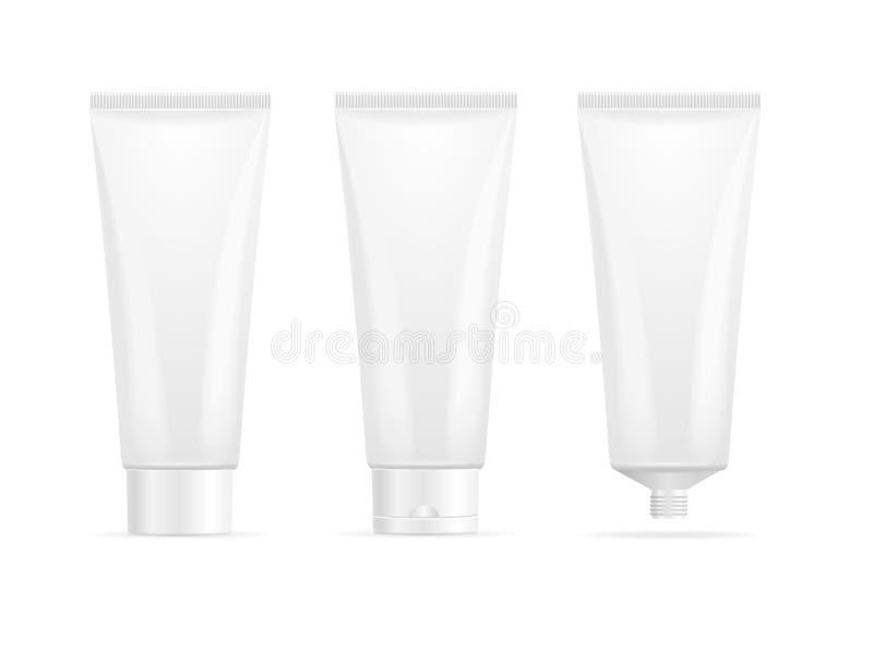 Grupo vazio branco detalhado realístico do modelo do molde do creme do tubo 3d Vetor ilustração stock
