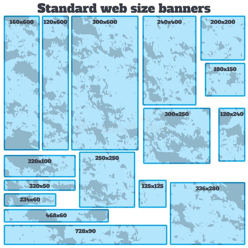 Grupo vazio das bandeiras vazias da Web do tamanho padrão da caixa ilustração stock
