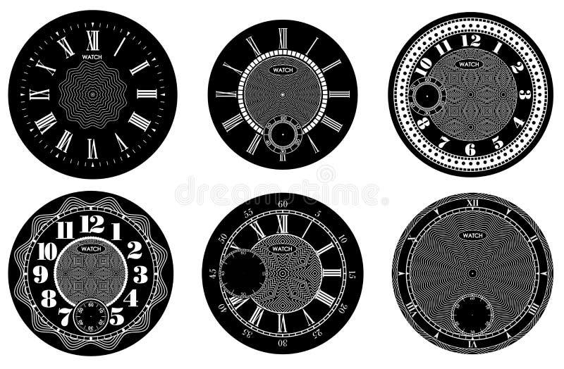 Grupo vazio de face do relógio isolado no fundo branco Projeto do relógio do vetor Ilustração numeral romana do pulso de disparo  ilustração stock