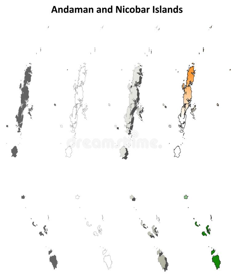 Grupo vazio do mapa do esboço de Andaman e de ilhas Nicobar ilustração do vetor