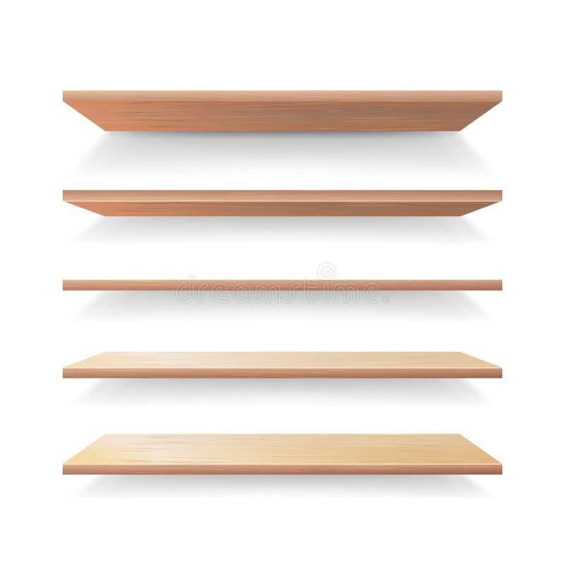 Grupo vazio do vetor do molde das prateleiras da madeira Prateleiras de madeira da loja 3D realística ajustadas isoladas ilustração royalty free