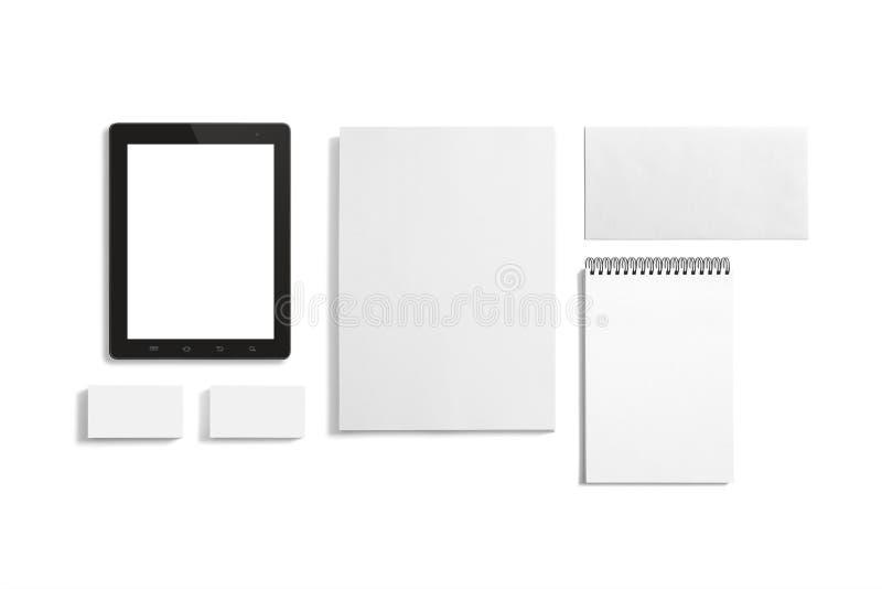 Grupo vazio dos artigos de papelaria isolado no branco fotos de stock royalty free