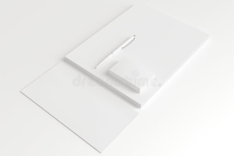 Grupo vazio dos artigos de papelaria isolado no branco ilustração royalty free