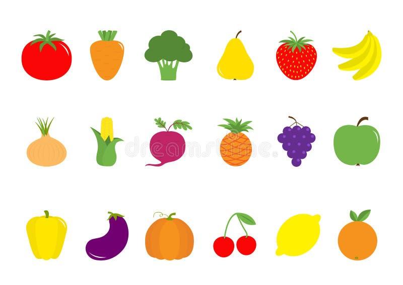 Grupo vegetal do ícone da baga do fruto Pera, morango, banana, abacaxi, uva, maçã, cereja, limão, alaranjado Pimenta, tomate, cen ilustração royalty free