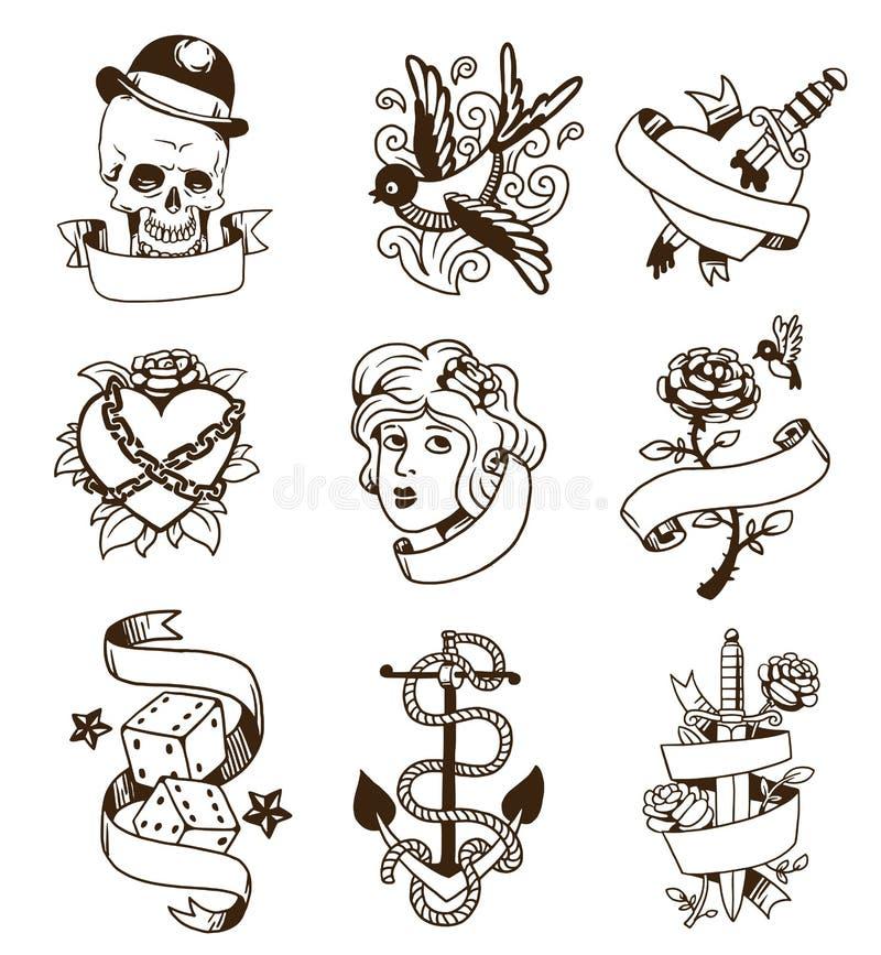 Grupo velho do vetor da tatuagem do vintage ilustração do vetor