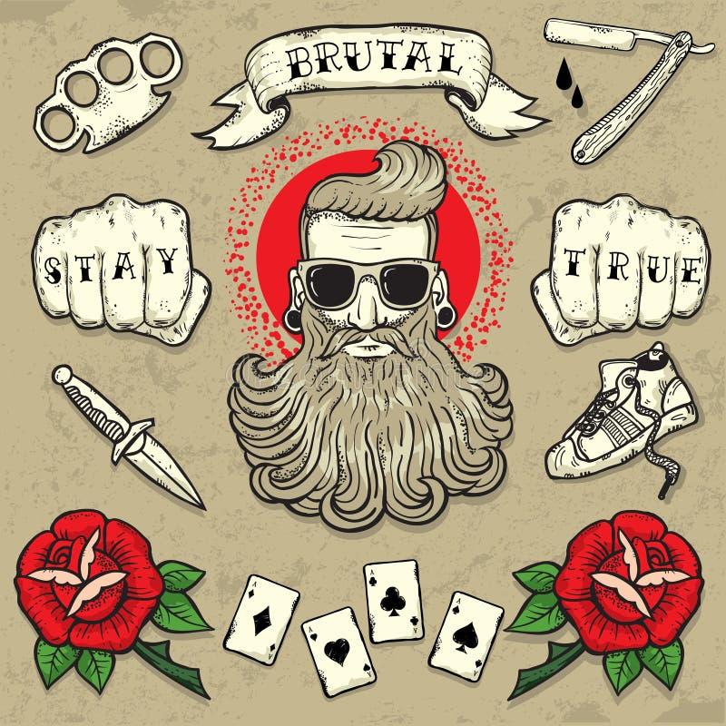 Grupo verdadeiro da tatuagem do vetor da estada ilustração royalty free