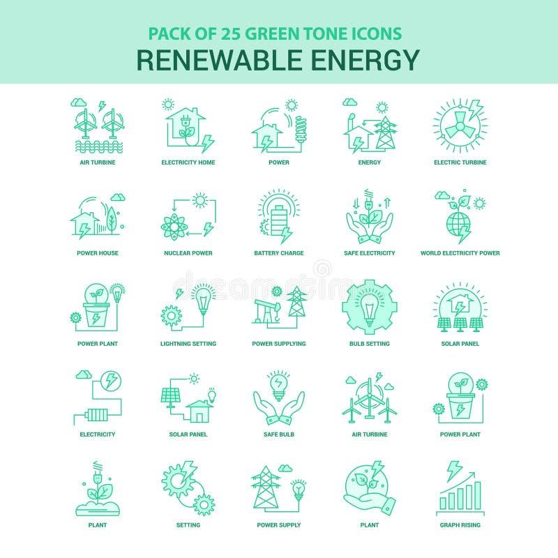 Grupo verde do ícone da energia 25 renovável ilustração do vetor