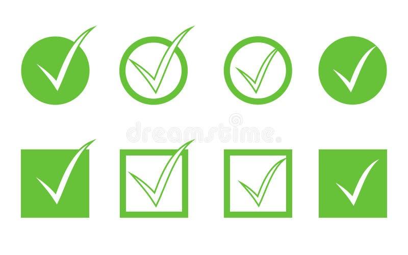 Grupo verde do ícone da marca de verificação isolado no fundo branco ilustração royalty free