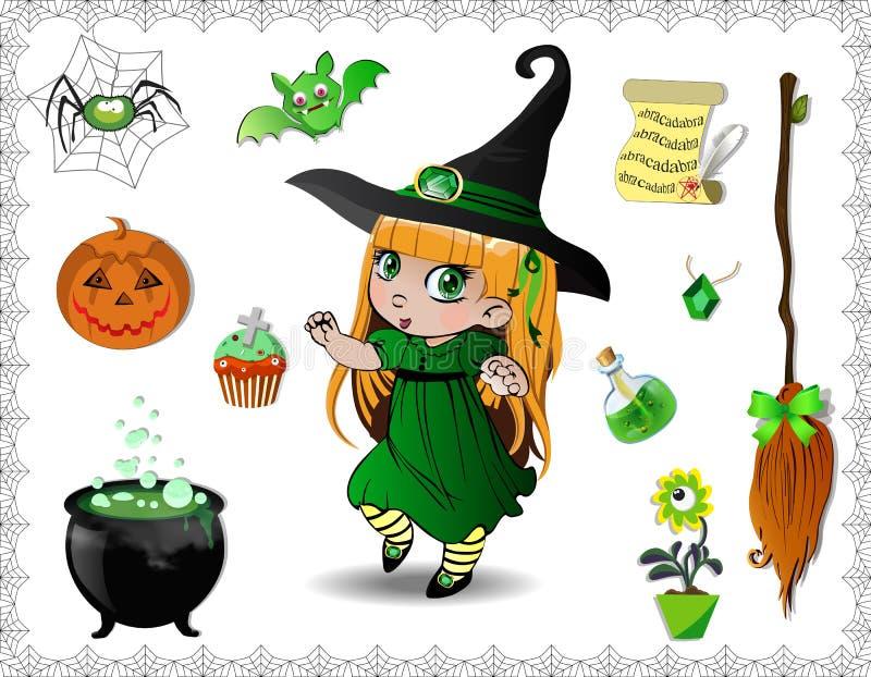 Grupo verde dos desenhos animados do Dia das Bruxas de objetos para bruxas e a menina bonito da bruxa no fundo branco ilustração royalty free