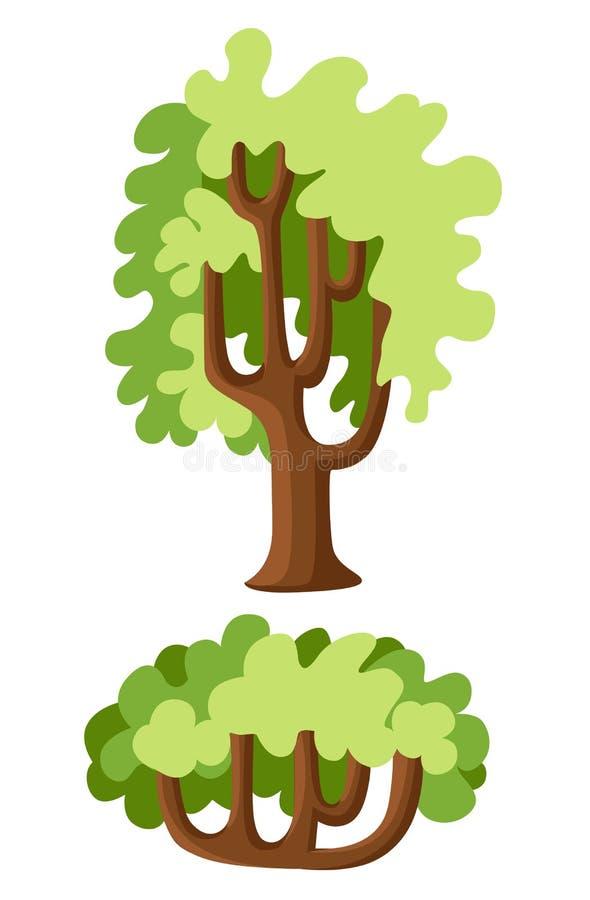 Grupo verde liso da ilustração das árvores Pinho de pedra, abeto vermelho, bordo, vidoeiro, cedro, carvalho, brachychiton, banyan ilustração stock